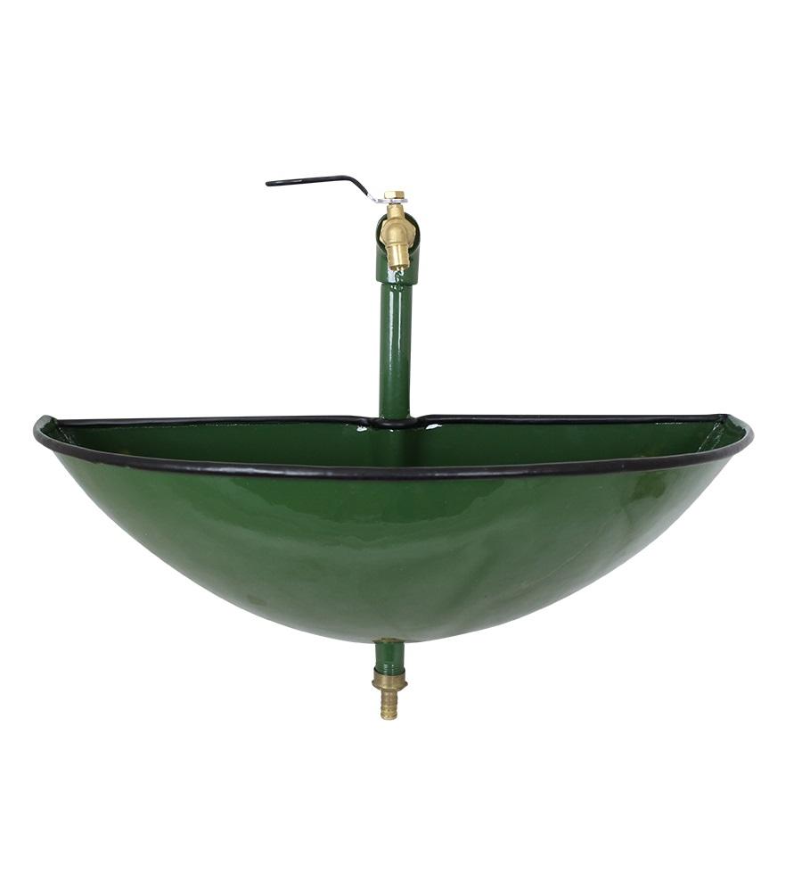 Tvättställ utomhus grön emalj Strömshaga