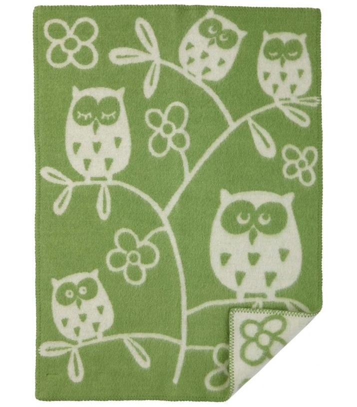 Tree Owl babyfilt ull green Klippan Yllefabrik