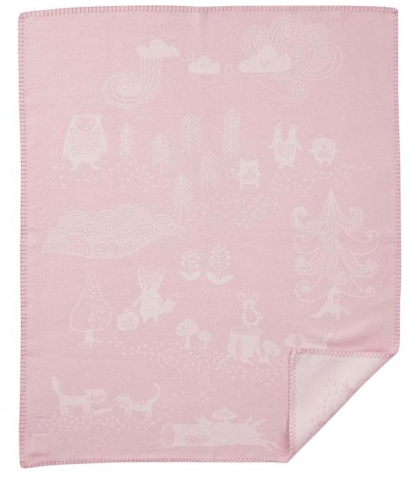 Klippan Little Bear bomullsfilt rosa Klippan Yllefabrik