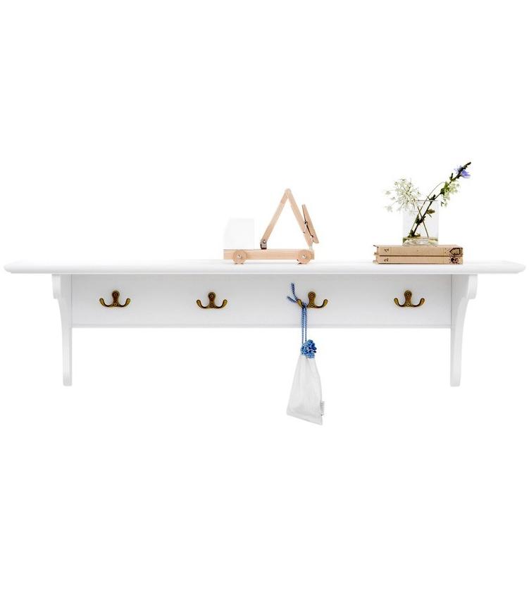 Hylla med krokar vit 20 x 60 cm Oliver Furniture