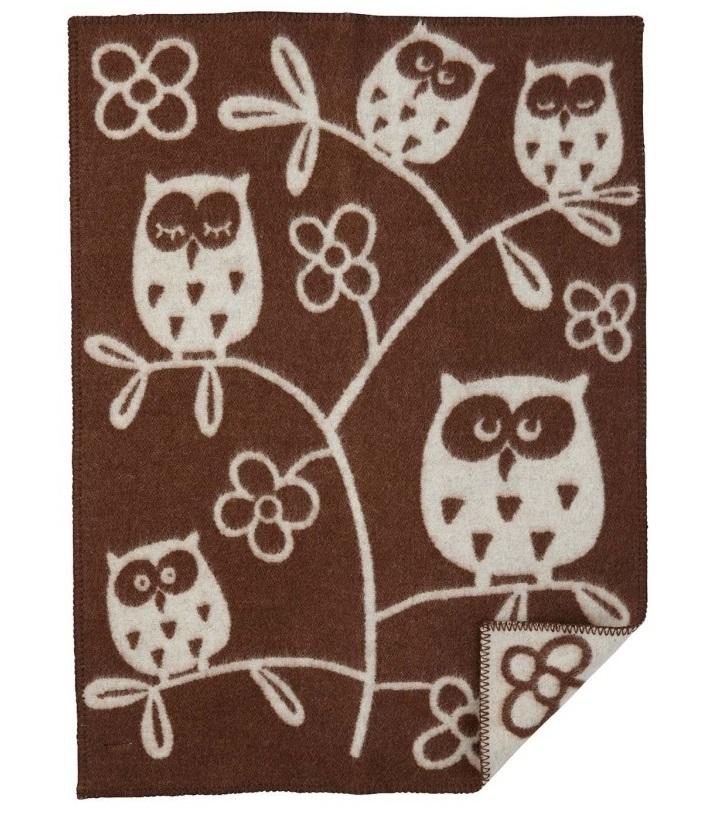 Tree Owl babyfilt ull brown Klippan Yllefabrik