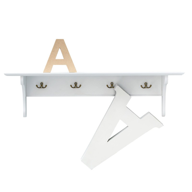Hylla med krokar vit 20 x 90 cm Oliver Furniture