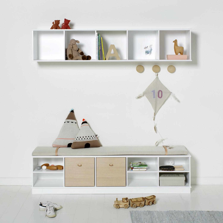 bokhylla vägg ~ wood horisontal hylla 5 x 1 för vägg, oliver furniture