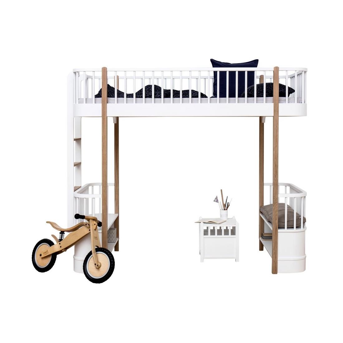 Loftsäng Wood Collection vit/ek Oliver Furniture