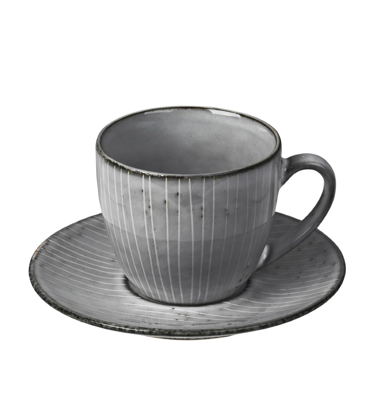Kaffekopp med fat NORDIC SEA Broste Copenhagen