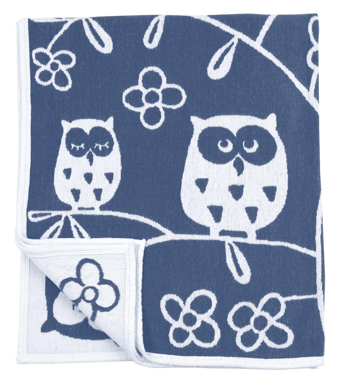 Tree Owl bomullschenille blue Klippan Yllefabrik