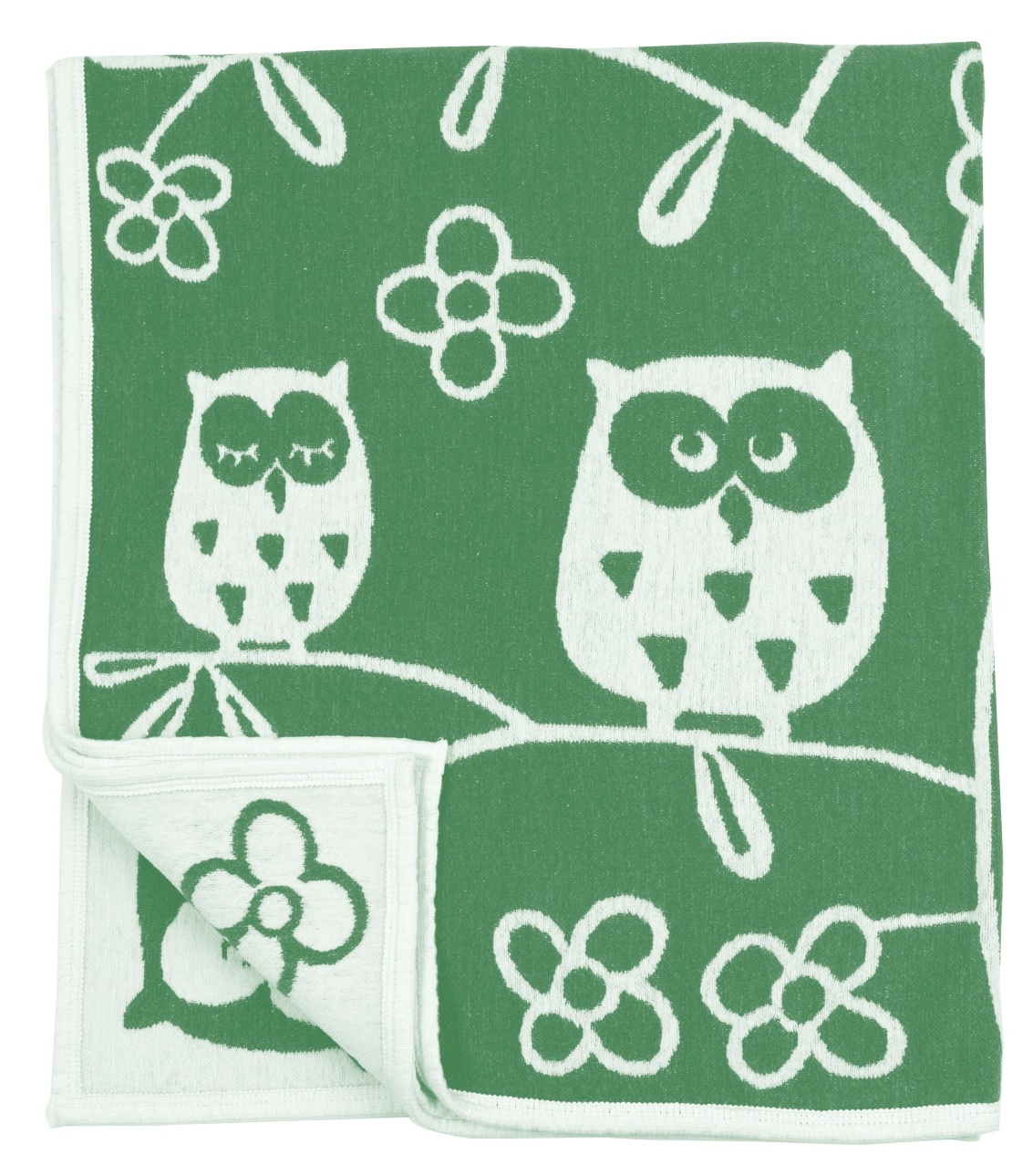 Tree Owl bomullschenille green Klippan Yllefabrik
