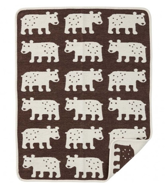Bear filt bomullschenille brown Klippan Yllefabrik