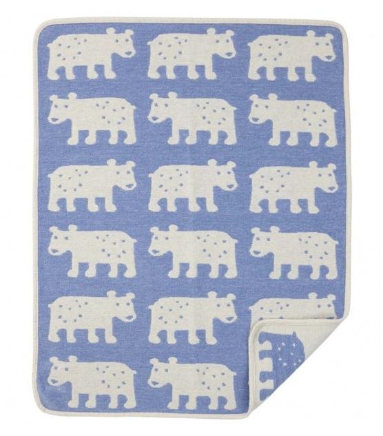 Bear filt bomullschenille blue Klippan Yllefabrik