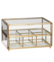 Förvaringsbox i glas med lådor mässing,  Hubsch