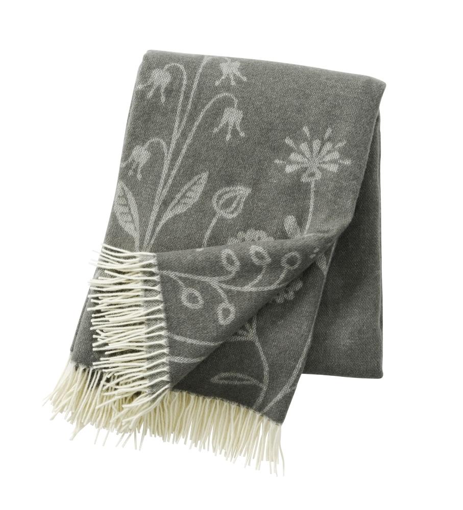 Flower Meadow premium ull Grey, Klippan Yllefabrik