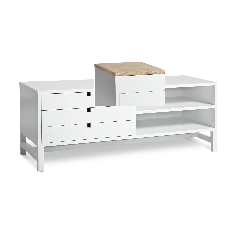 Falsterbo TV-bänk lådor 120 cm ek, Mavis