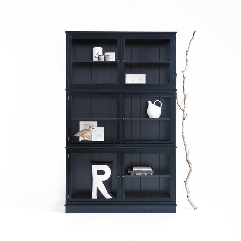 Svart Vitrinskåp 127 cm, Oliver Furniture