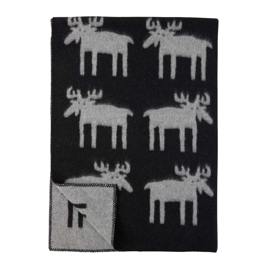 Älgar Moose Ullfilt svart, Klippan Yllefabrik