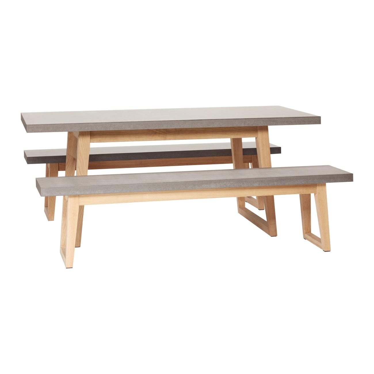 Bord med två bänkar ek/ betong, Hubsch