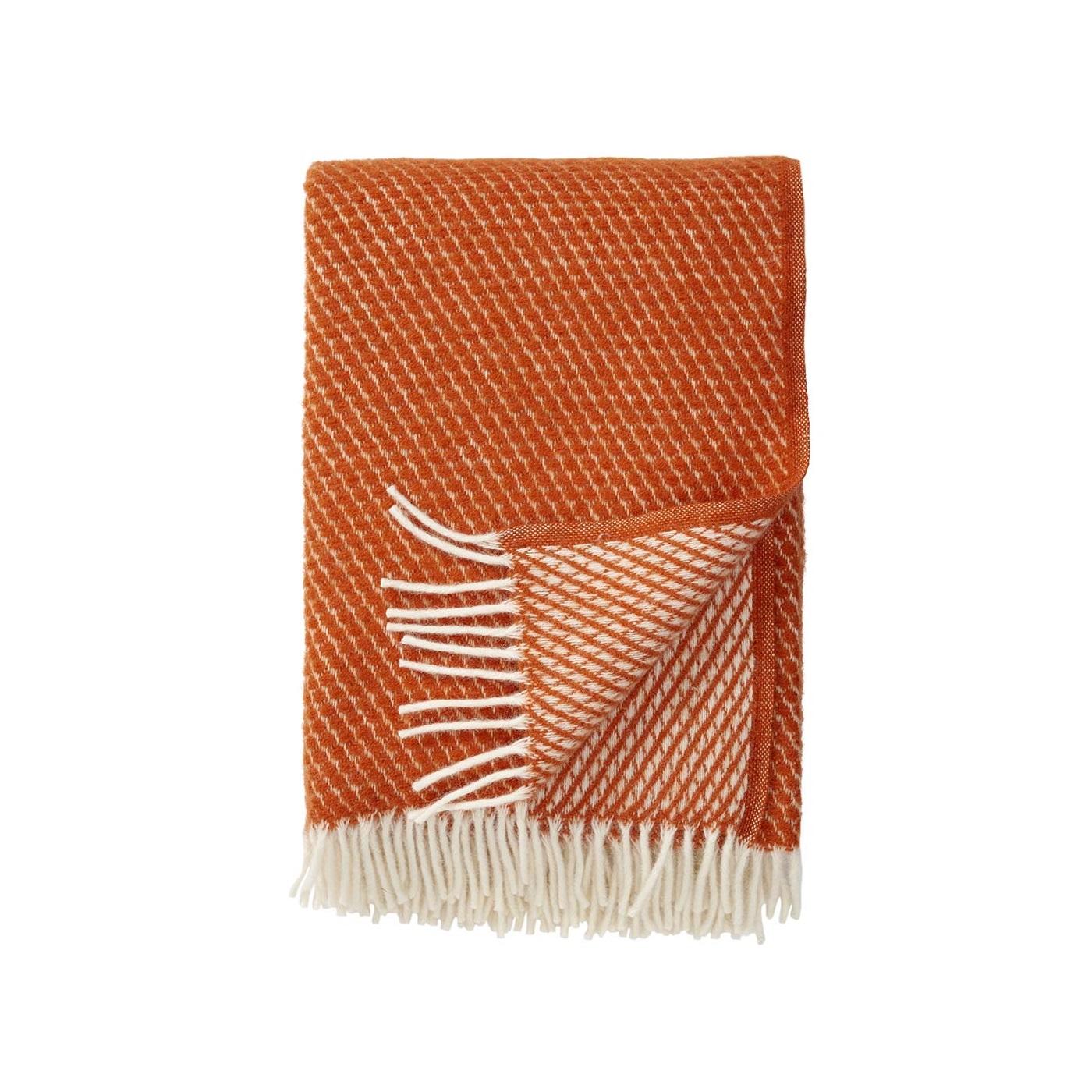 Orange ullpläd VELVET lammull, Klippan Yllefabrik