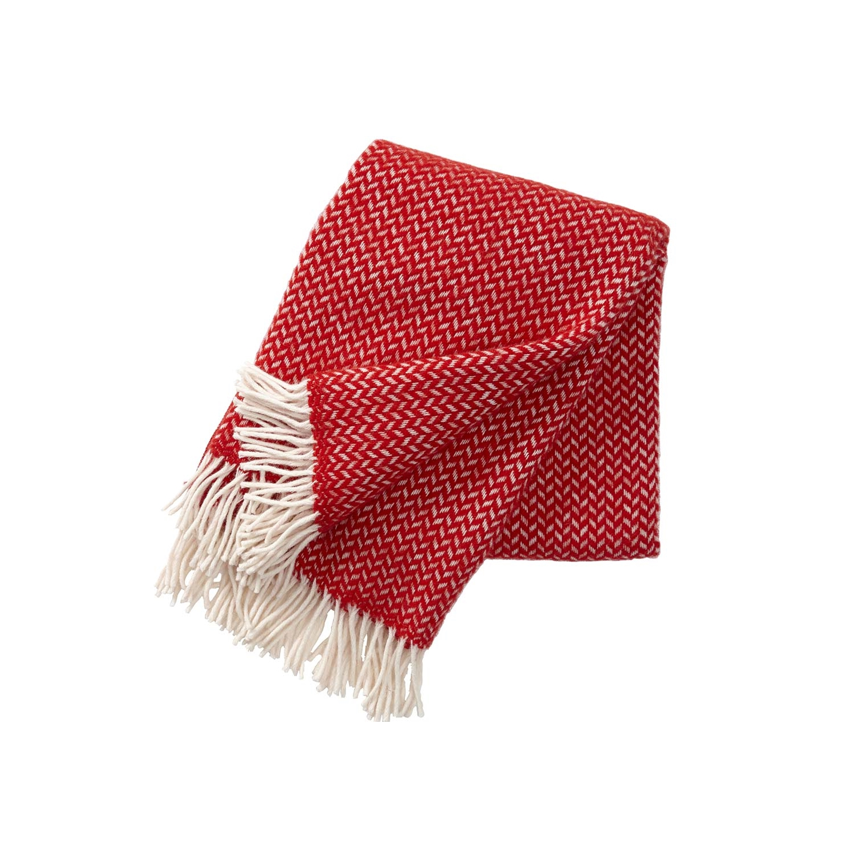Polka ullpläd röd, Klippan Yllefabrik