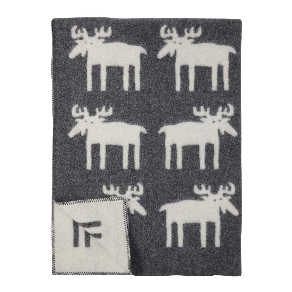 Älgar Moose Ullfilt grey, Klippan Yllefabrik