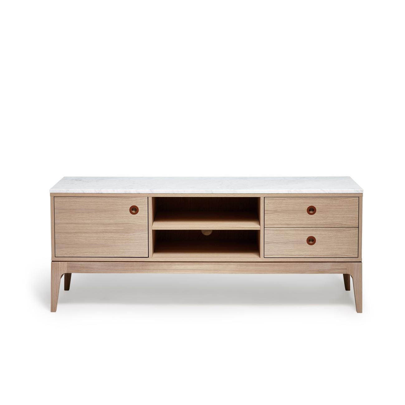 Höllviken TV-bänk 150 cm  ek/ marmor, Mavis