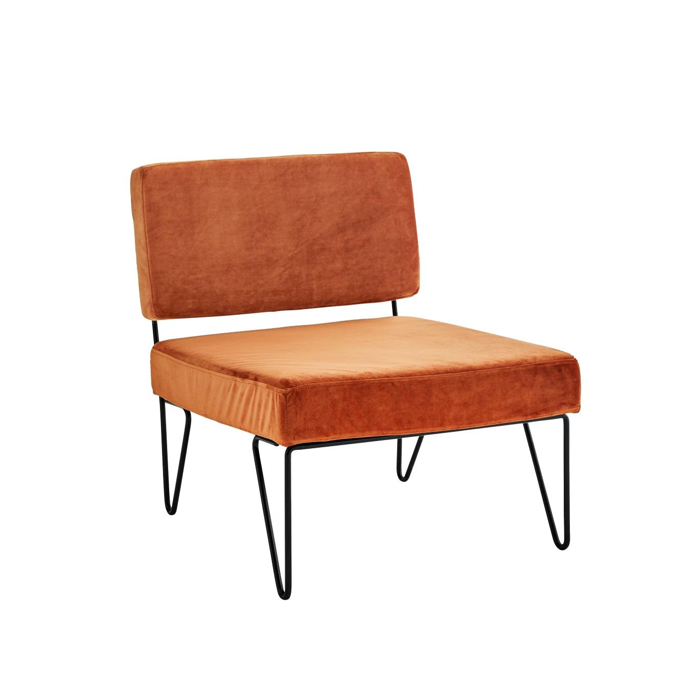 Lounge fåtölj sammet orange, Madam Stoltz