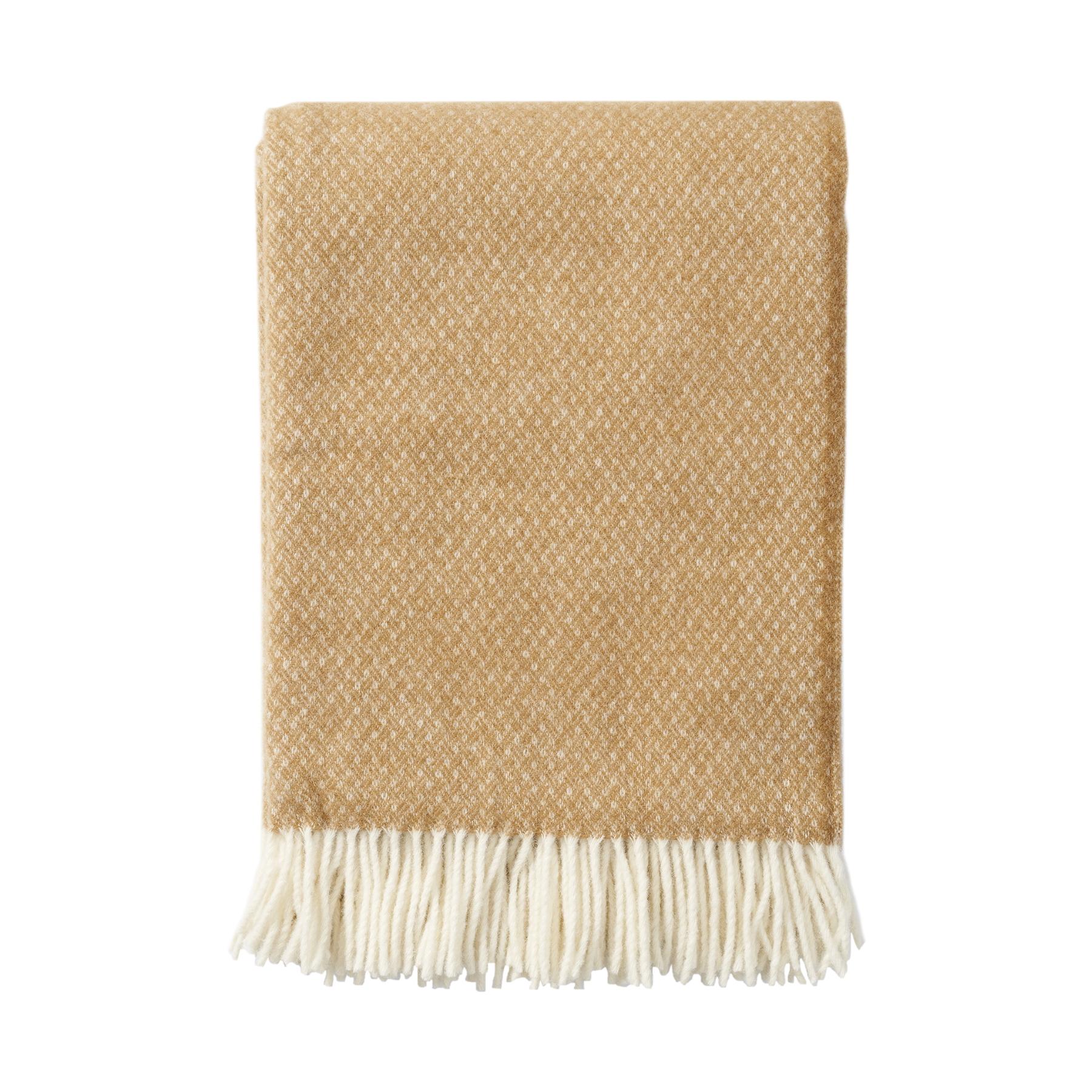FLOW ullpläd premium Amber, Klippan Yllefabrik