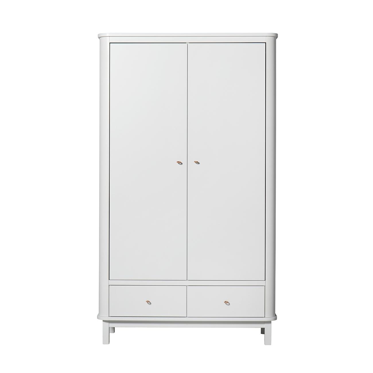 Garderob 2 dörrar Wood vit/ vit, Oliver Furniture