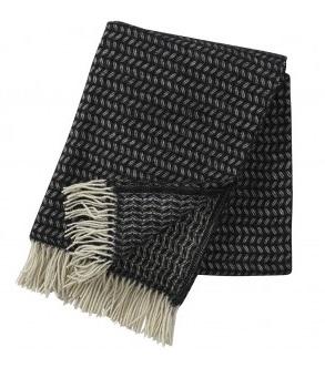 Leaf premium ullpläd fransar black, Klippan Yllefabrik
