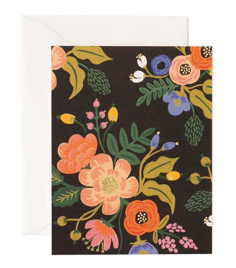 Vintage Lively Floral Black card, Rifle Paper Co