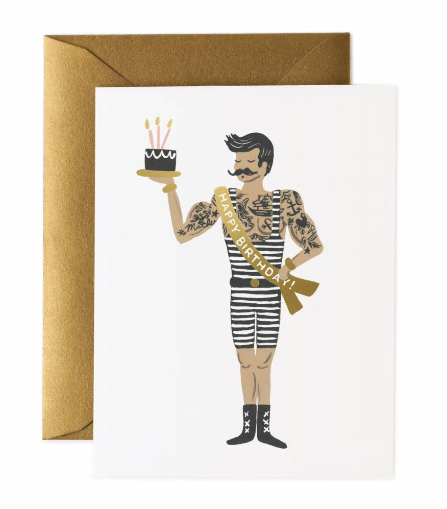 Kort Strong Man Birthday card, Rifle Paper Co