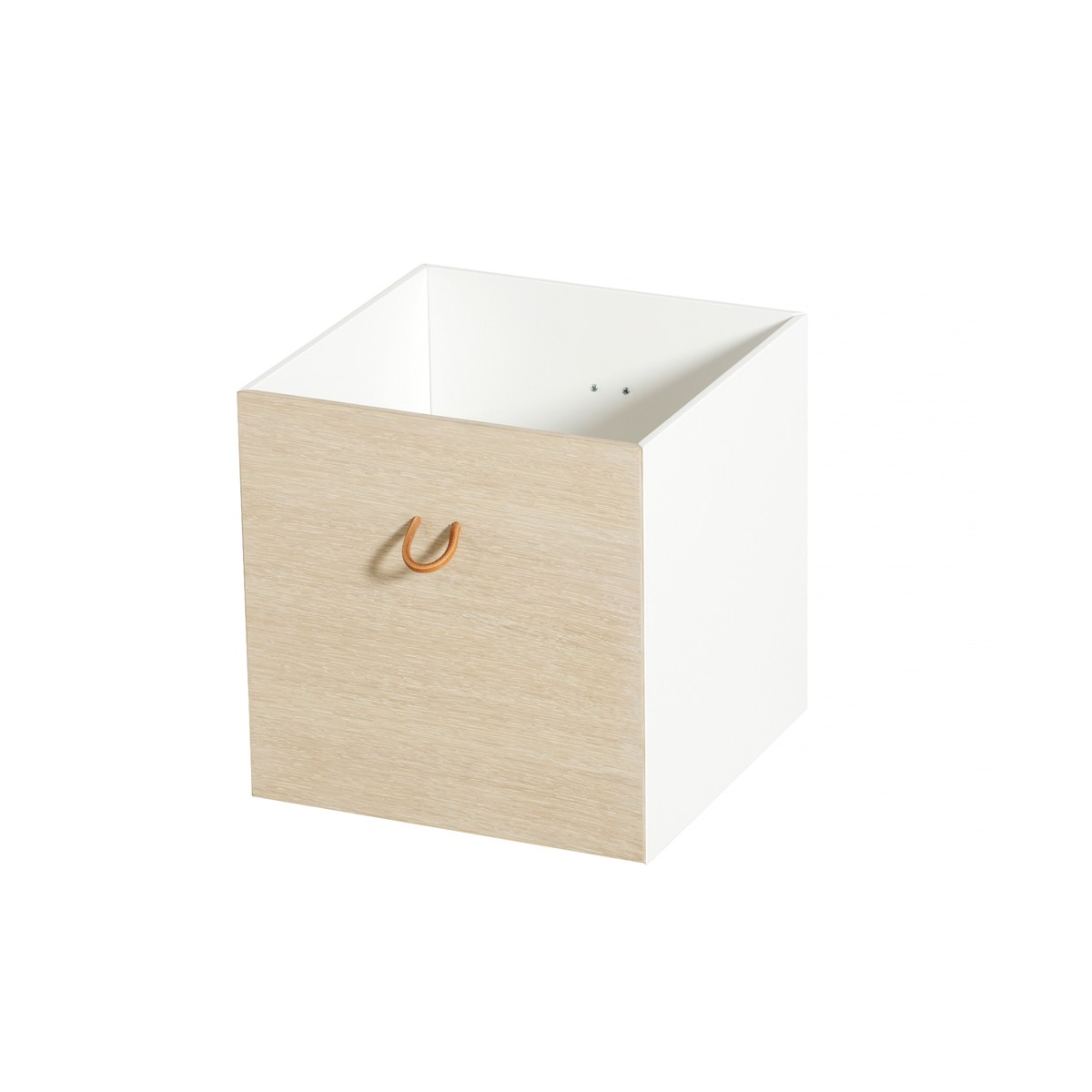 Wood 3 st förvaringslådor ek/vit, Oliver Furniture