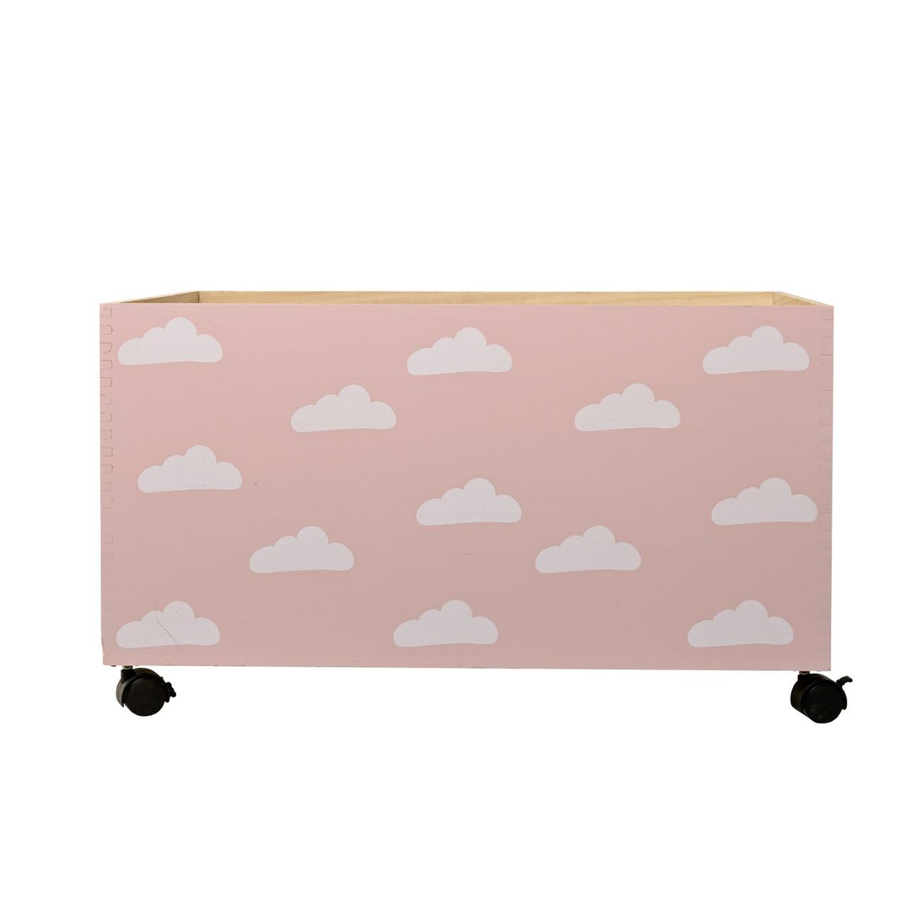 Förvaringslåda Moln rosa på hjul, Bloomingville Mini