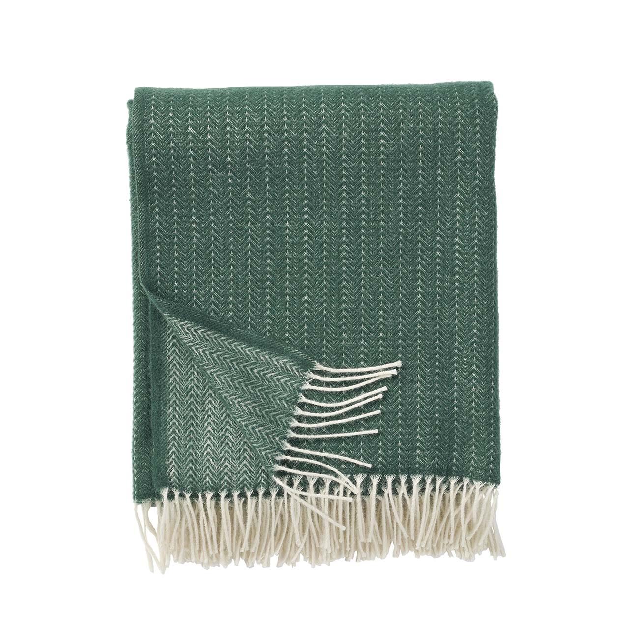 PIN STRIPE premium kashmir mörkgrön, Klippan Yllefabrik
