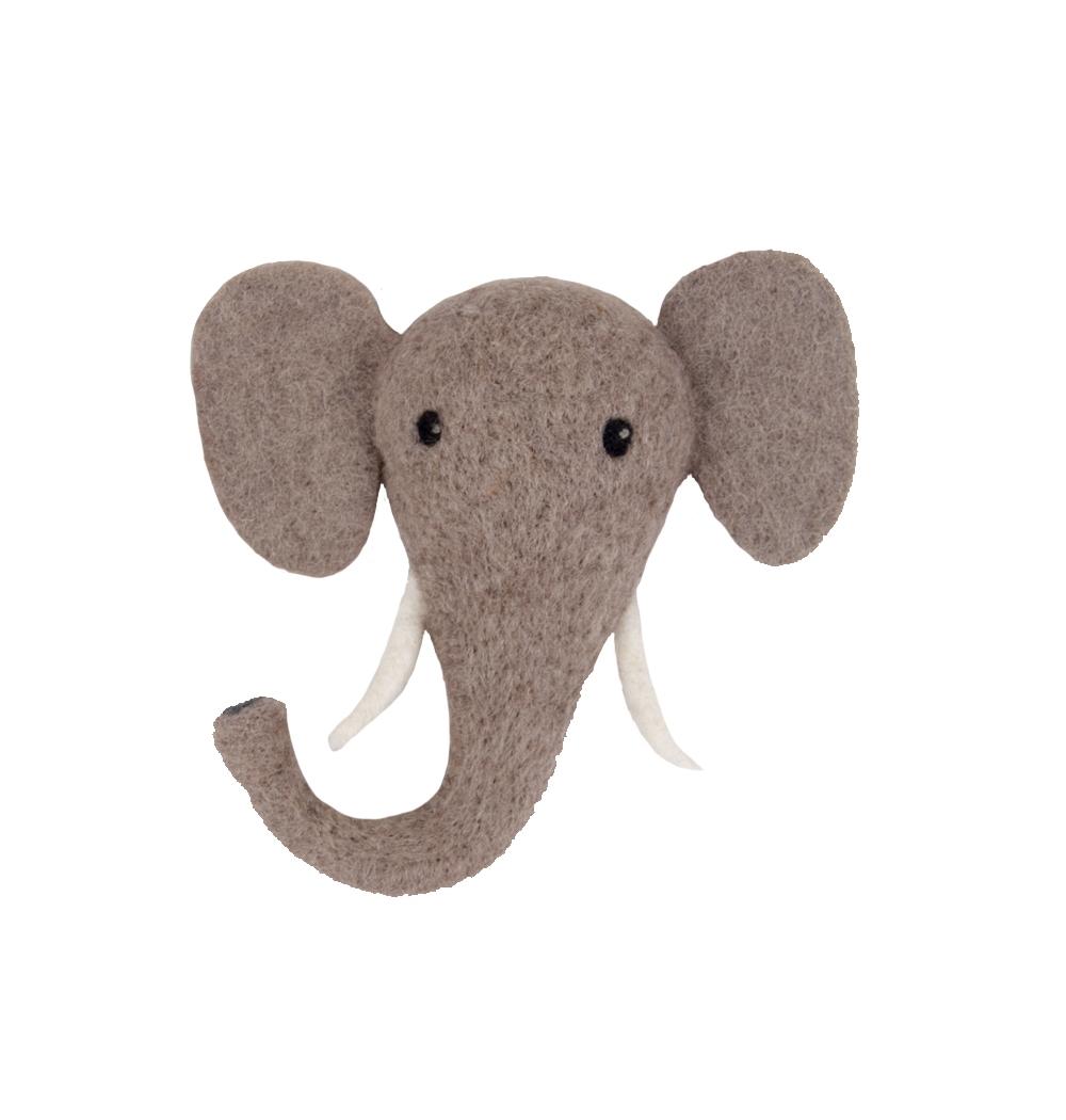 Animal Head Elephant handfiltad, Klippan Yllefabrik
