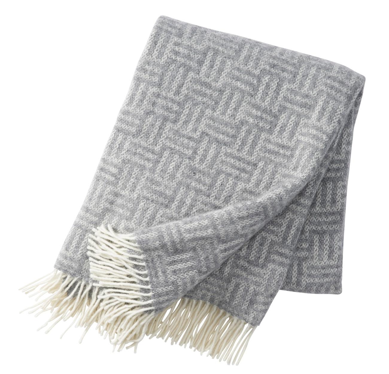 Block ullpläd 130 x 200 cm grey, Klippan Yllefabrik