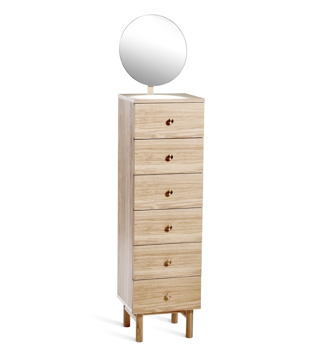 Post byrå i ask 6 lådor med spegel, Mavis