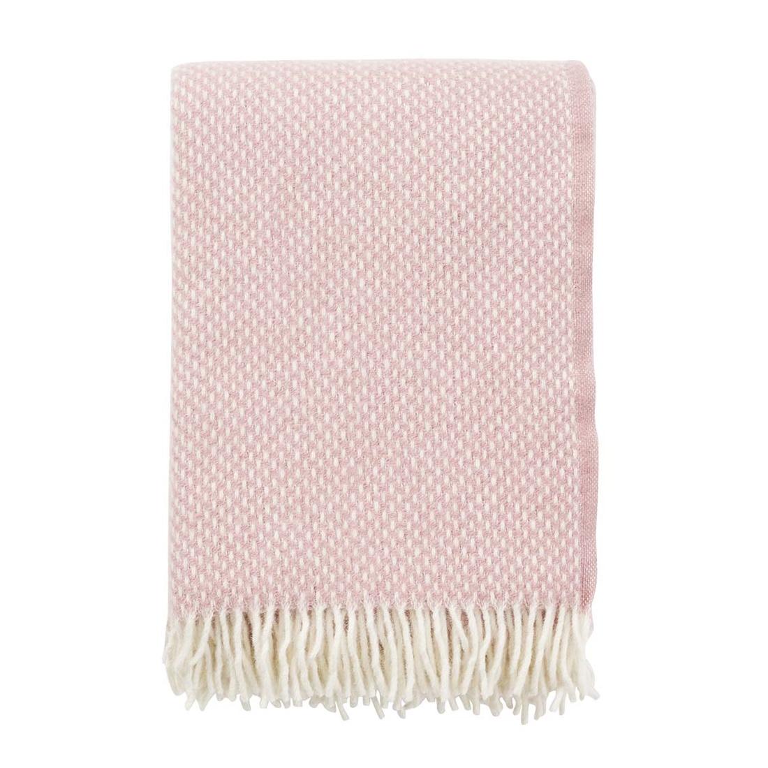 PREPPY pläd lammull rosa, Klippan Yllefabrik