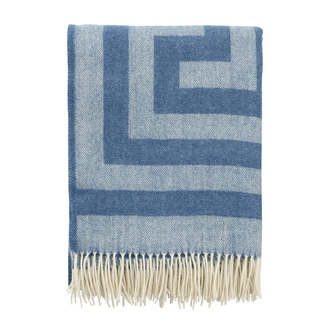 Ullpläd premium Memphis blå Klippan Yllefabrik