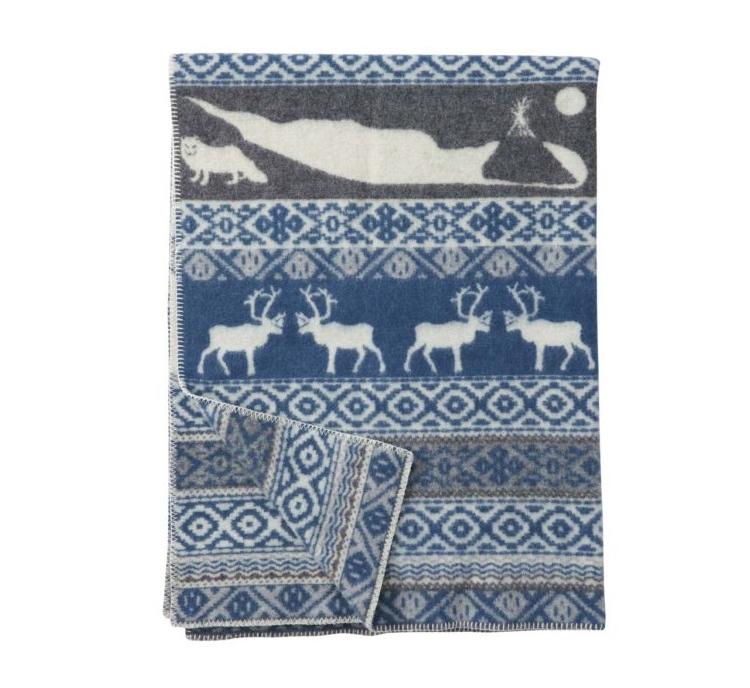 Sarek ullfilt 130 x 180 cm blå, Klippan Yllefabrik