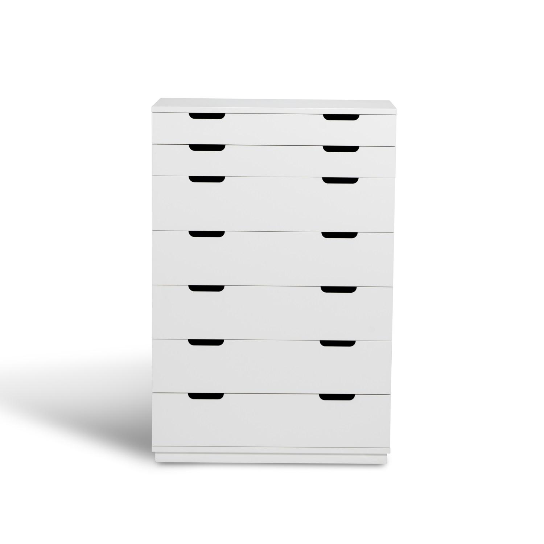 Byrå AOKO vit 7 lådor, Mavis