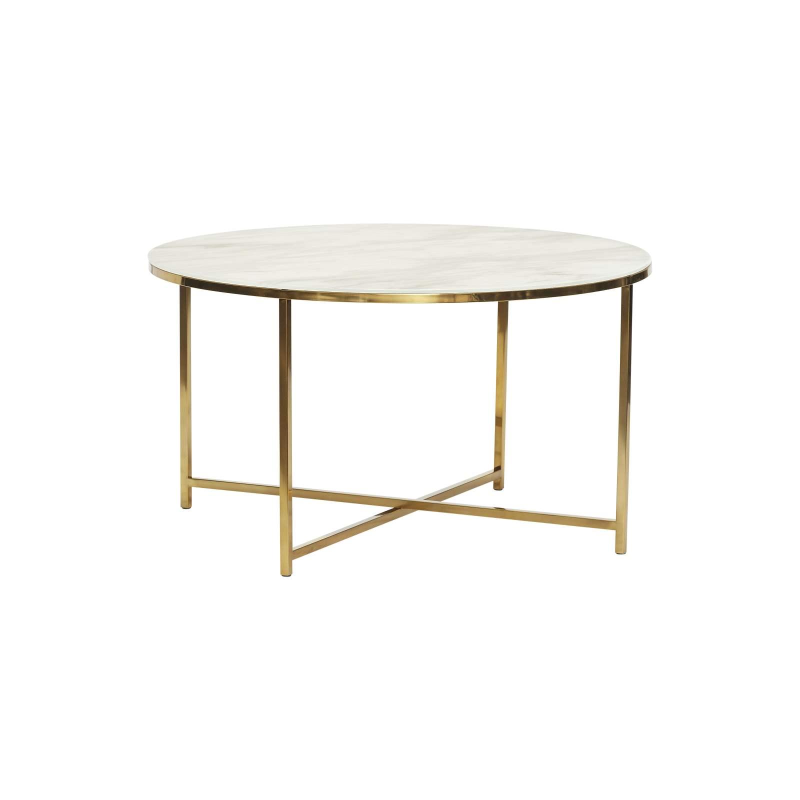 Runt soffbord vit marmorlook / guld, Hubsch thumbnail
