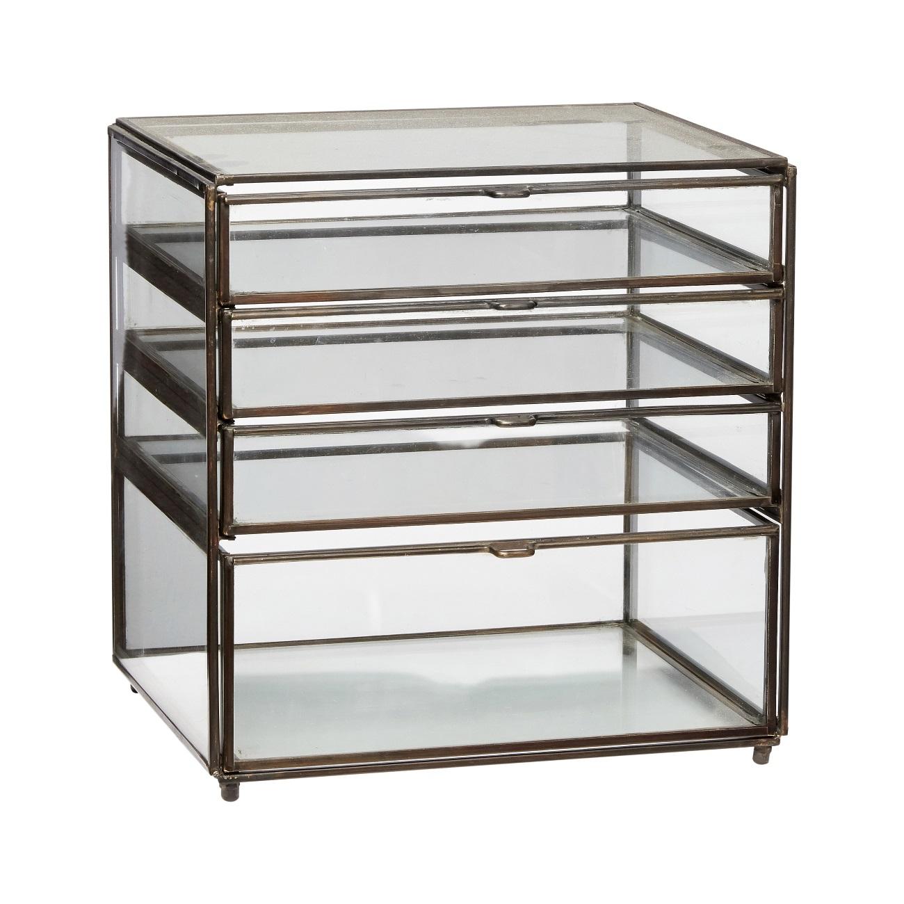 Förvaringsbox i glas med lådor,  Hubsch